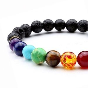 New 7 Chakra Beaded Healing Bracelet w/ Lava Stone